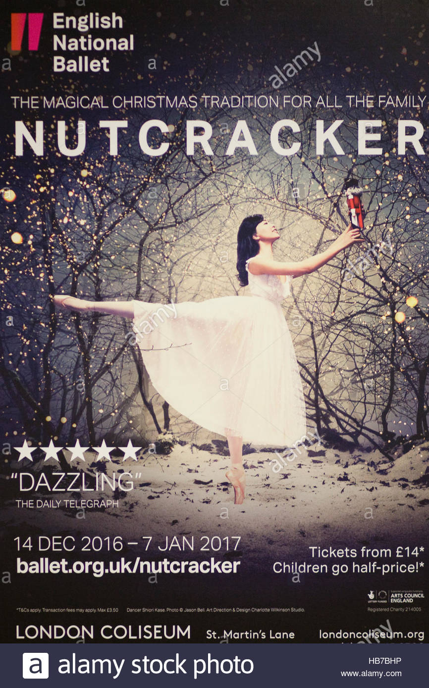 Poster for the ballet the nutcracker preformed by the english national ballet stock
