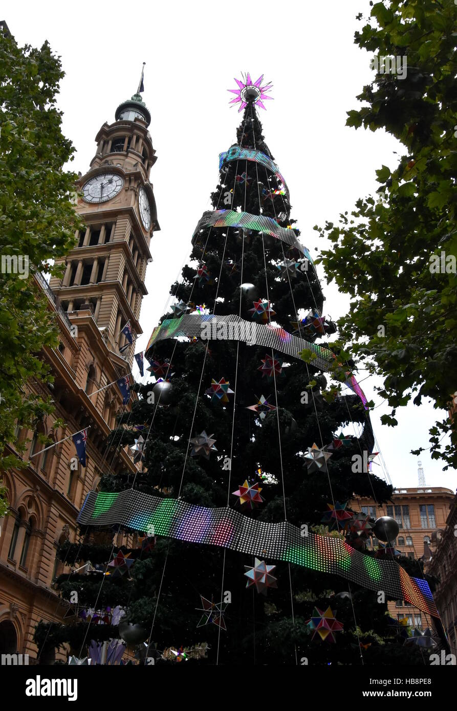 How to decorate tall outdoor christmas tree - Stock Photo Tall Outdoor Christmas Tree With Decoration Summer In Martin Place Sydney Australia