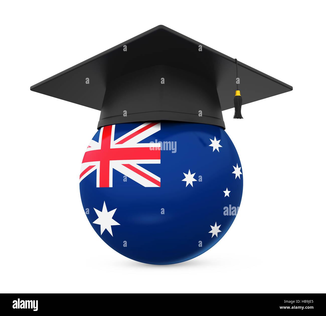 graduation cap with australia flag stock photo royalty free image