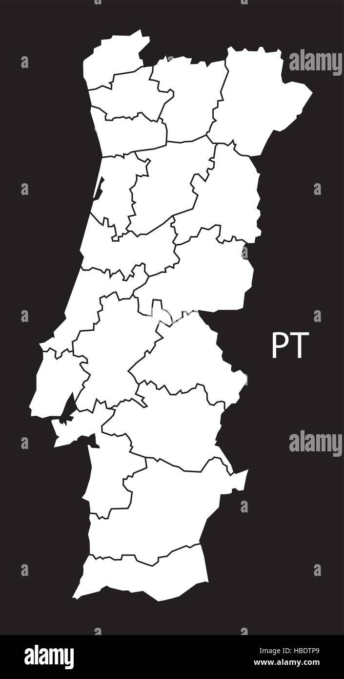 Portugal Districts Map Black White Stock Vector Art Illustration - Portugal map black and white
