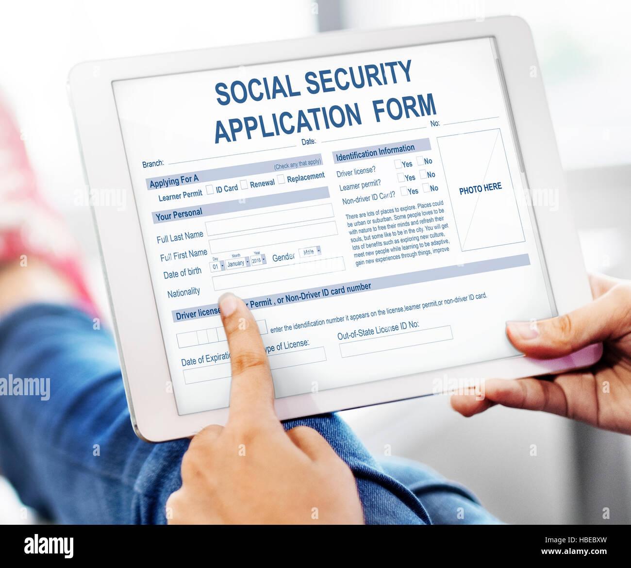 Social Security Application Form Concept Photo Royalty Free – Social Security Application Form