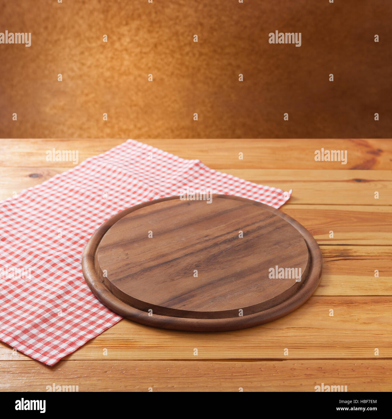 table top view. Pizza Board With Napkin On Wooden Table. Top View Mockup Table