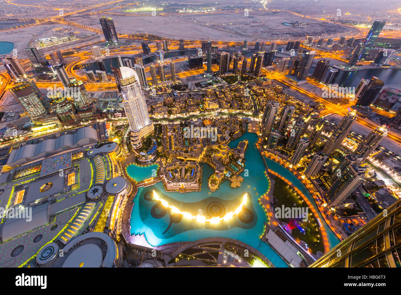 View From Burj Khalifa Observation Deck Dubai Fountain