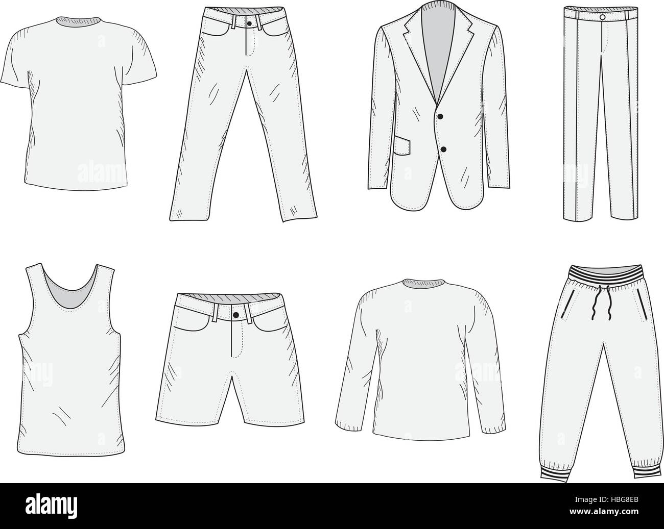 clothing set sketch mens clothes handdrawing style