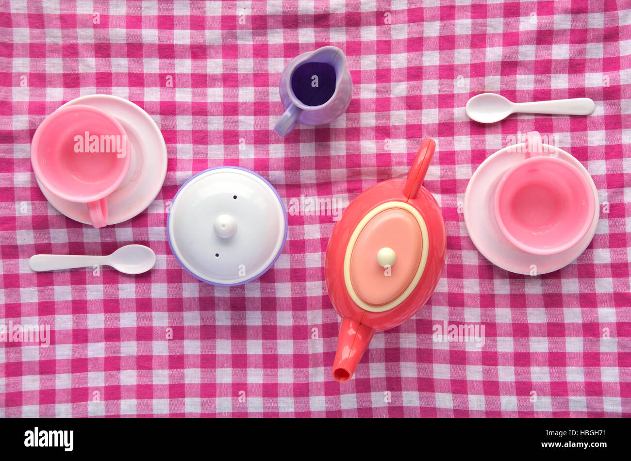 Flat Lay Tea Party Cookery On Pink Checkered Tablecloth. Couple  Relationship Concept