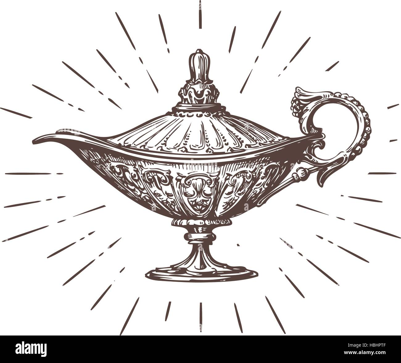 Aladdin magic or genie lamp. Vintage sketch vector ...