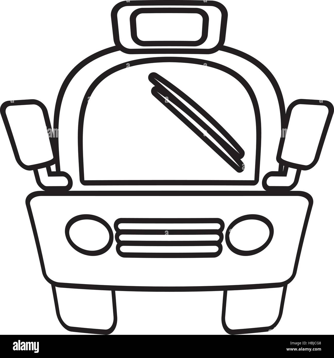 outline taxi car vehicule transport public vector illustration eps