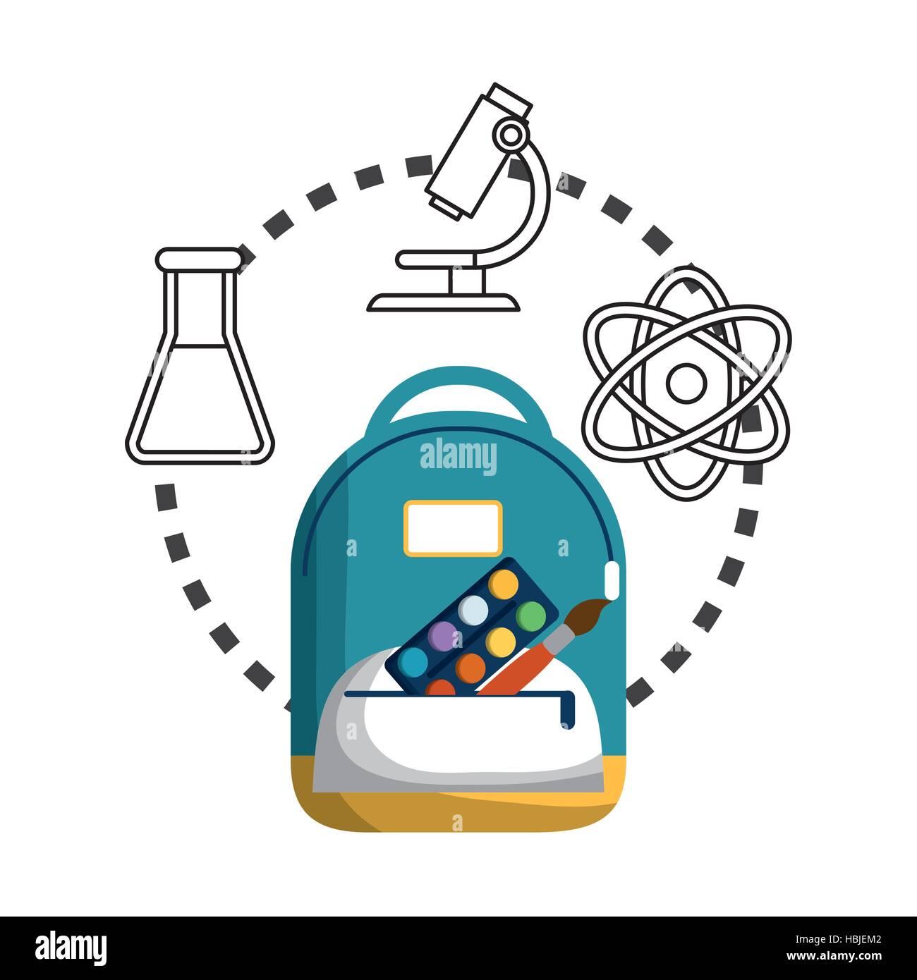 School bag diagram - Stock Vector Cartoon School Bag Palette Paint Brush Chemistry Laboratory Vector Illustration Eps 10