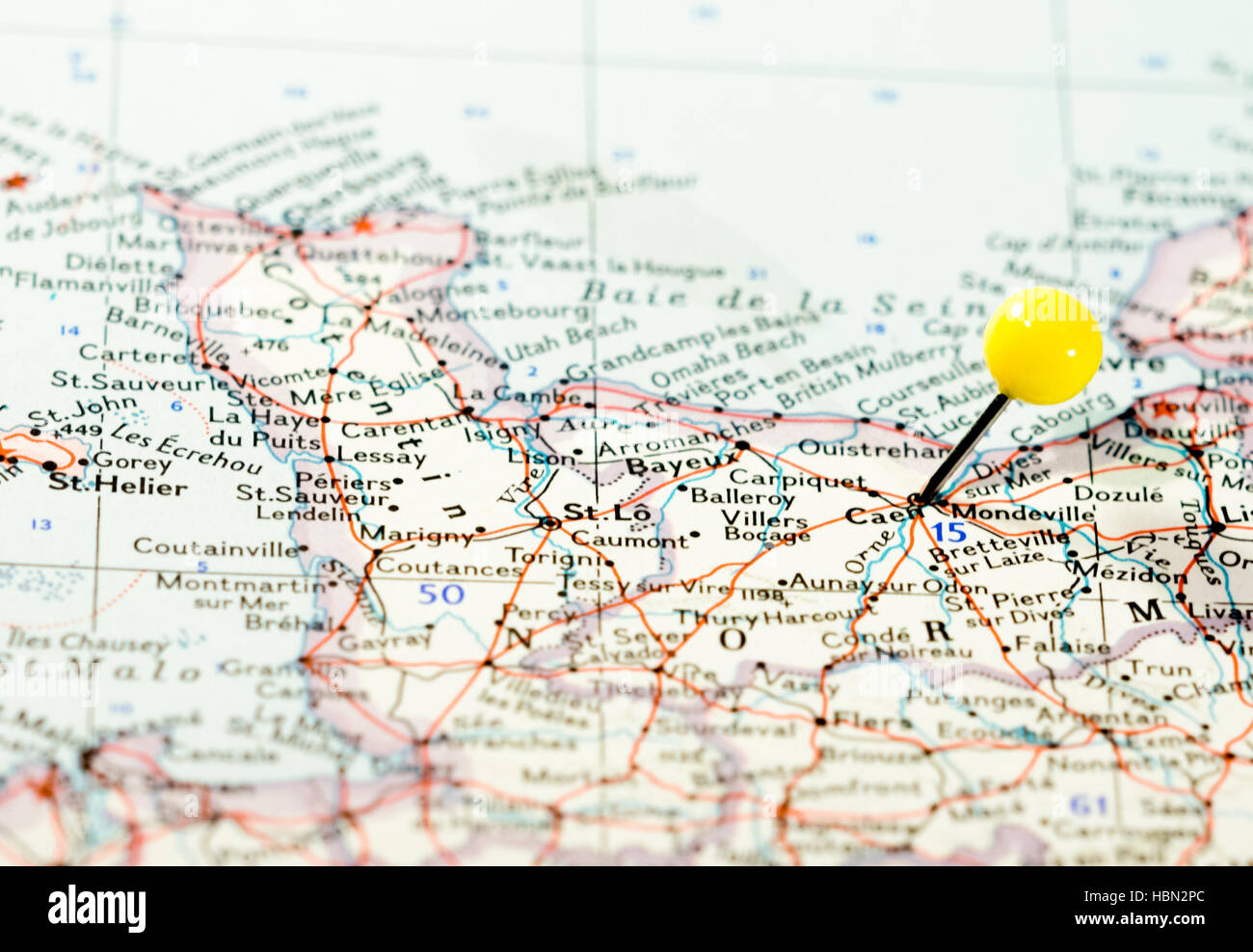Caen France location pinned on the route map Stock Photo Royalty