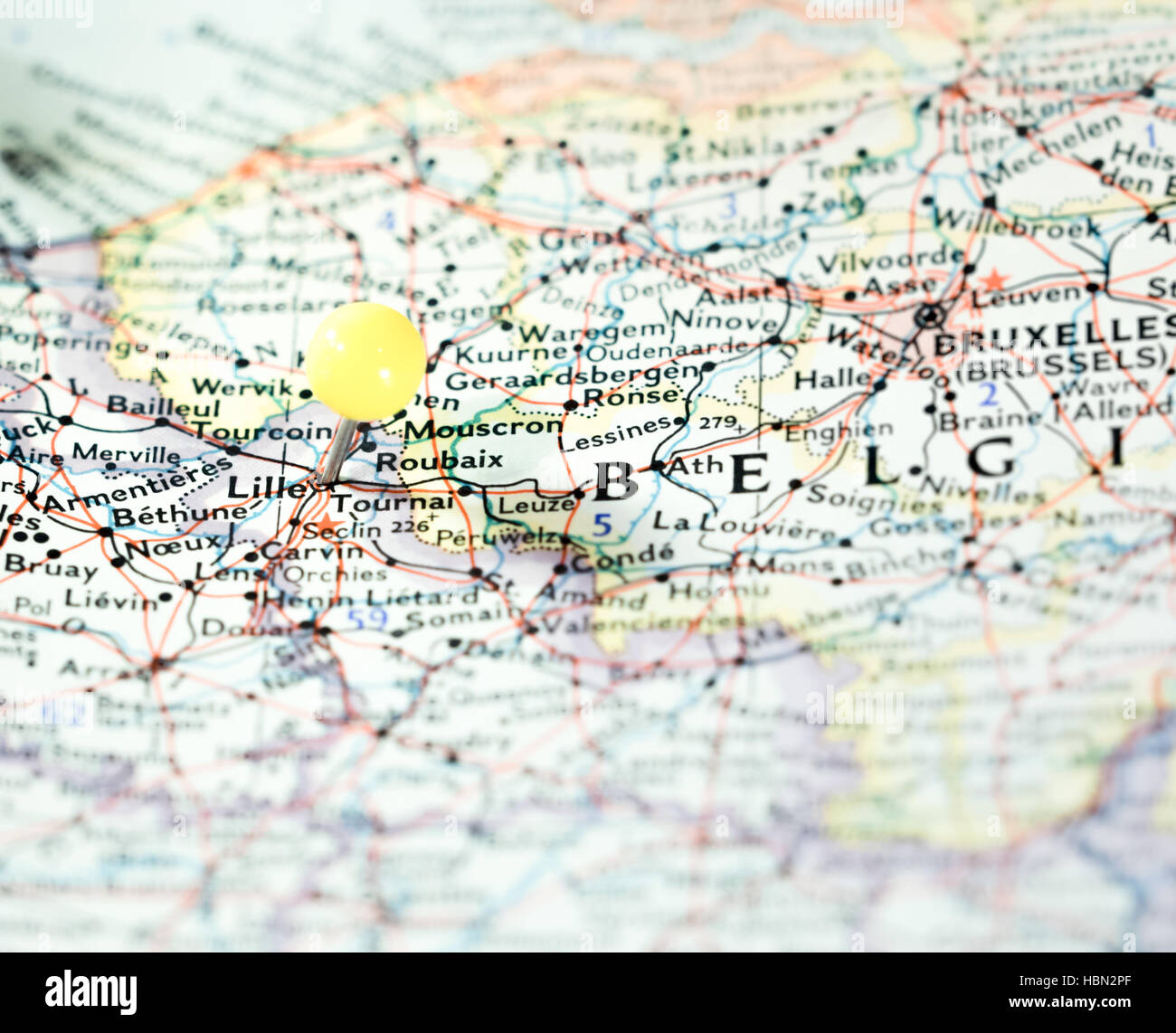 Lille France location pinned on the route map Stock Photo Royalty