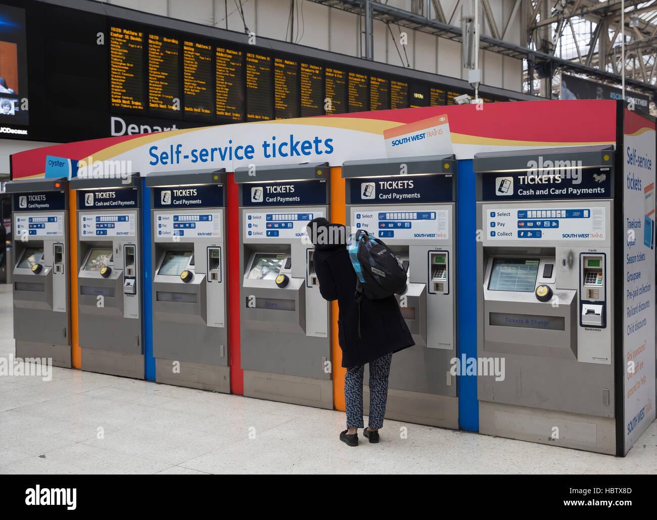 Self service ticket machines on Waterloo Station in London ...