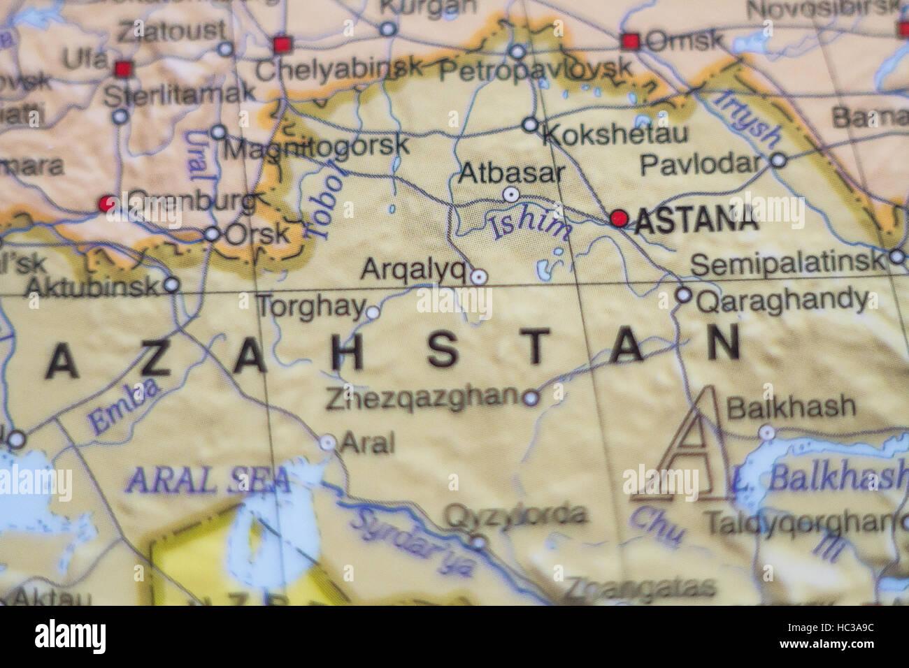 Photo of a map of Kazahstan and the capital Astana Stock Photo