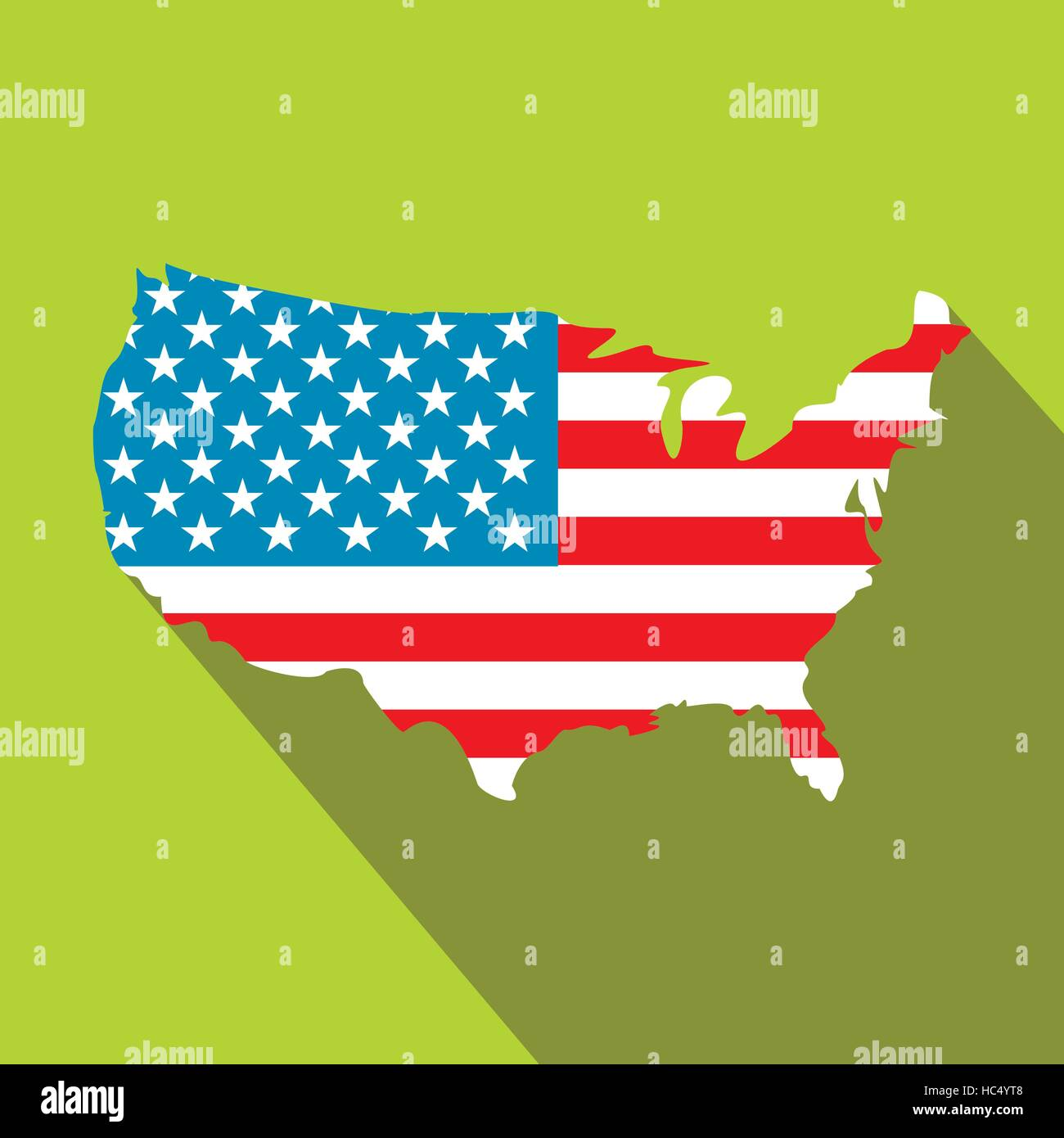 USA Map Flag Flat Icon Stock Vector Art Illustration Vector - Us map flat