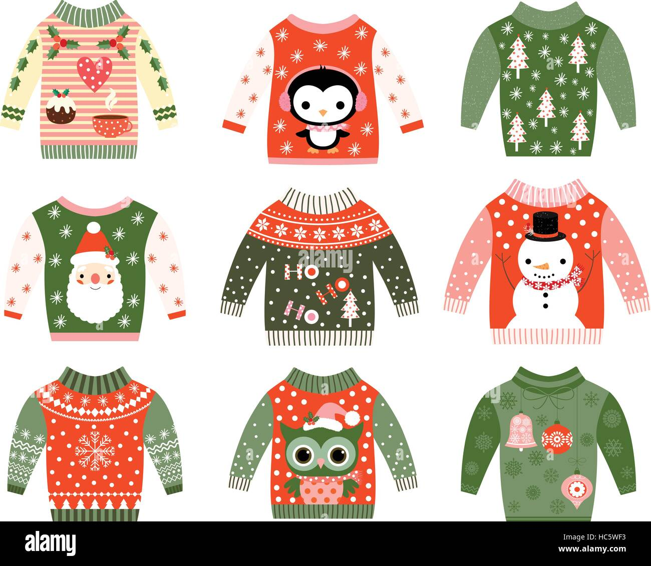 Cute ugly Christmas sweater designs vector set, Sweater party ...