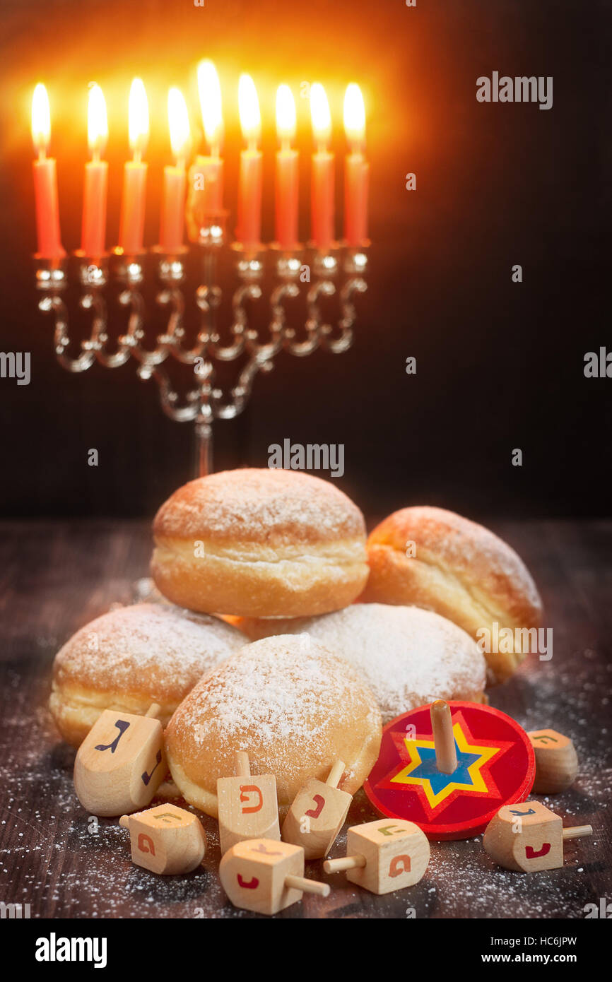 Symbols of jewish holiday hanukkah menorah donuts sufganiyot symbols of jewish holiday hanukkah menorah donuts sufganiyot and dreidels buycottarizona Images