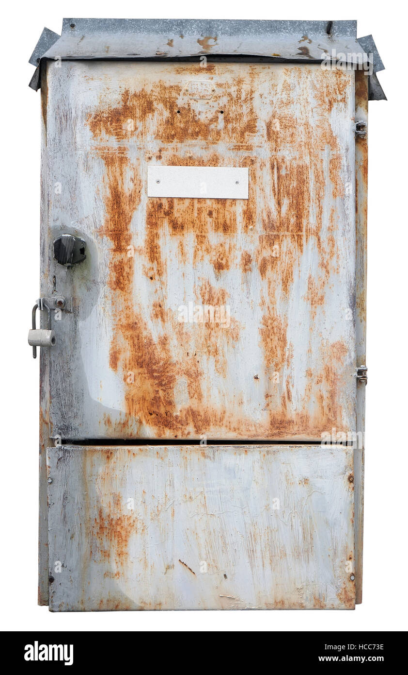 old rusty retro metal box for electrical fuses and. Black Bedroom Furniture Sets. Home Design Ideas