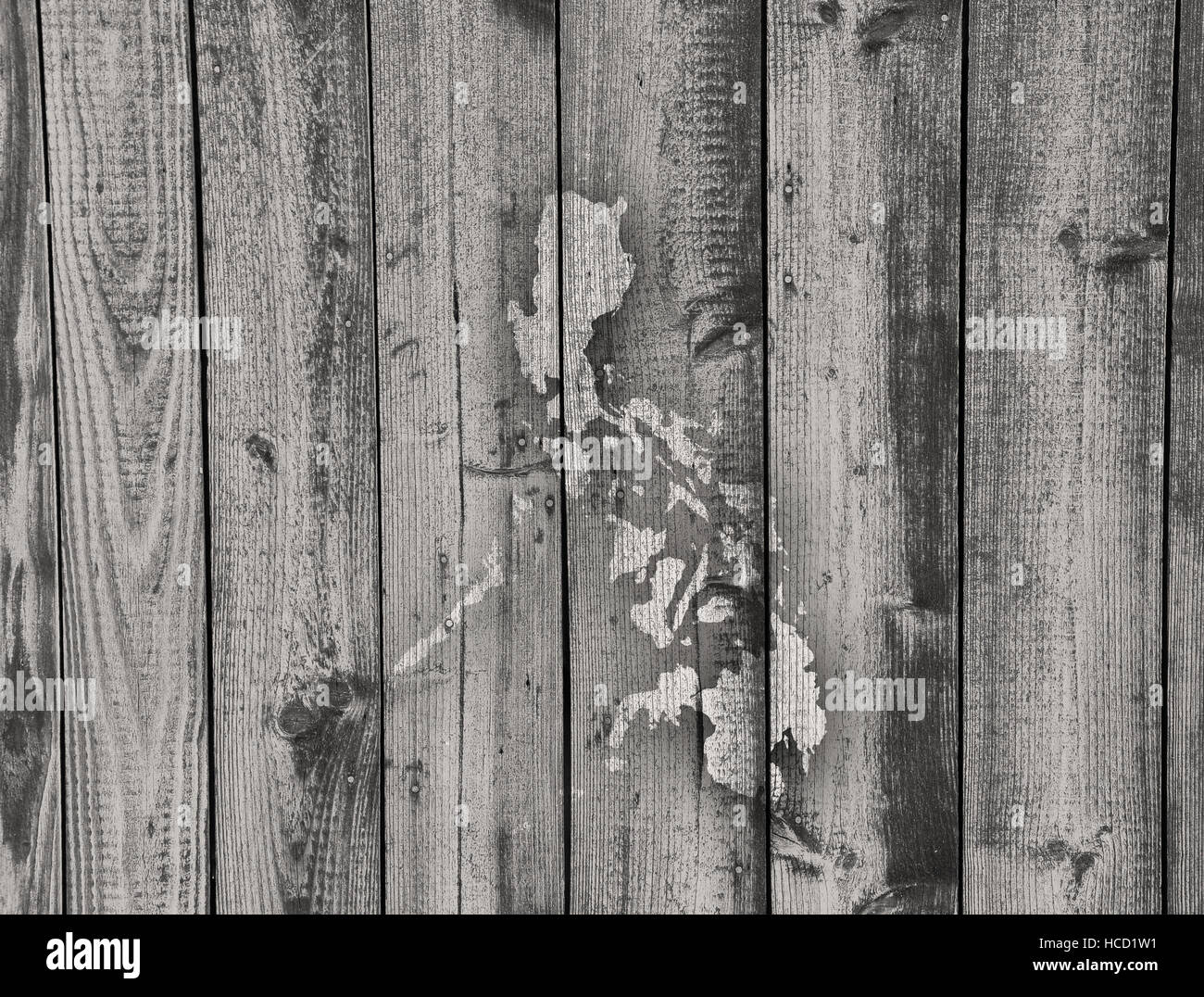 Map of the Philippines on weathered wood Stock Photo Royalty Free