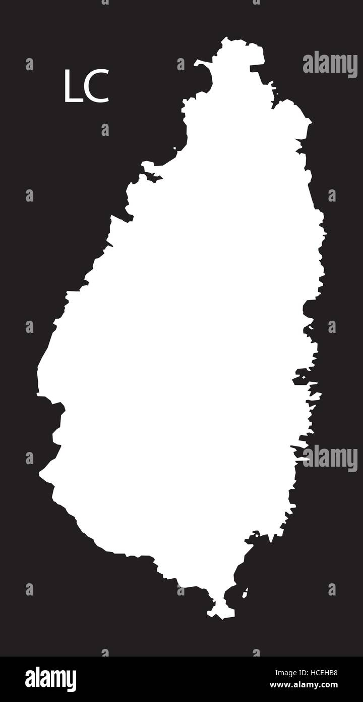 Saint Lucia Map black illustration Stock Vector Art Illustration