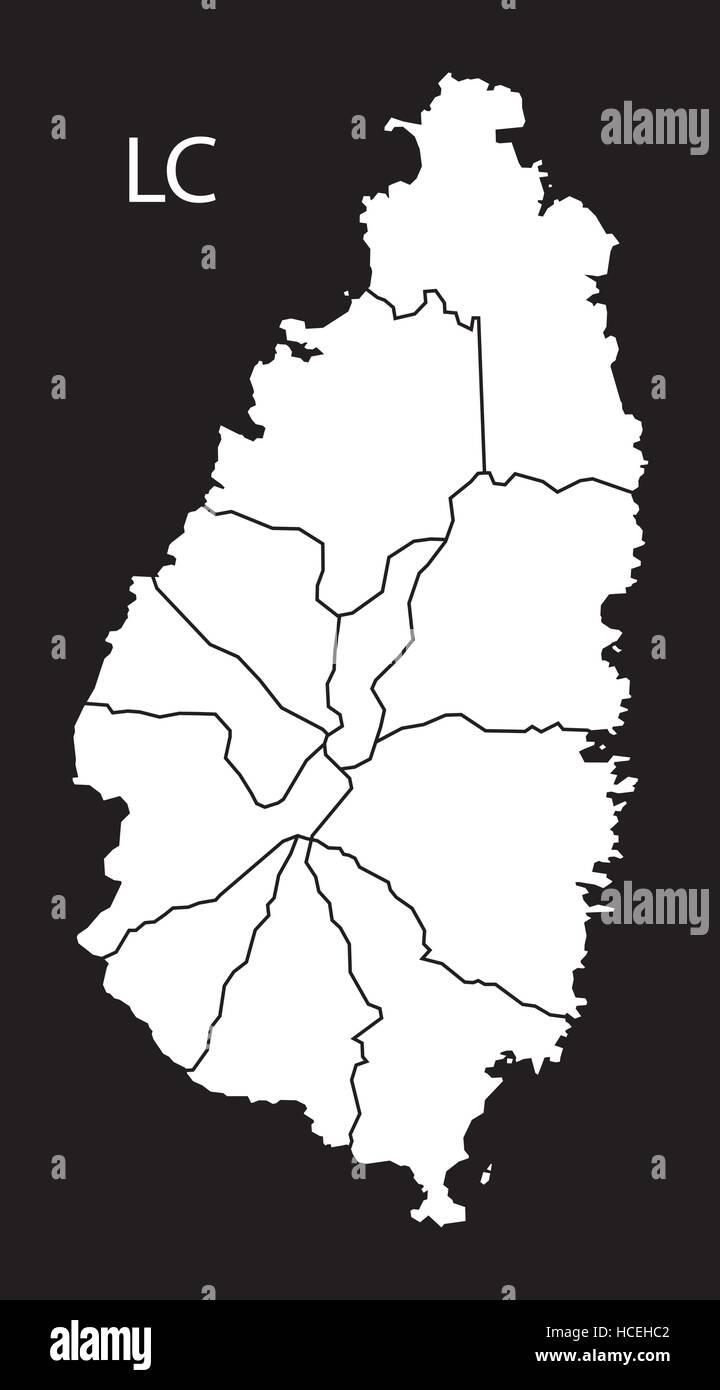 Saint Lucia districts Map black illustration Stock Vector Art