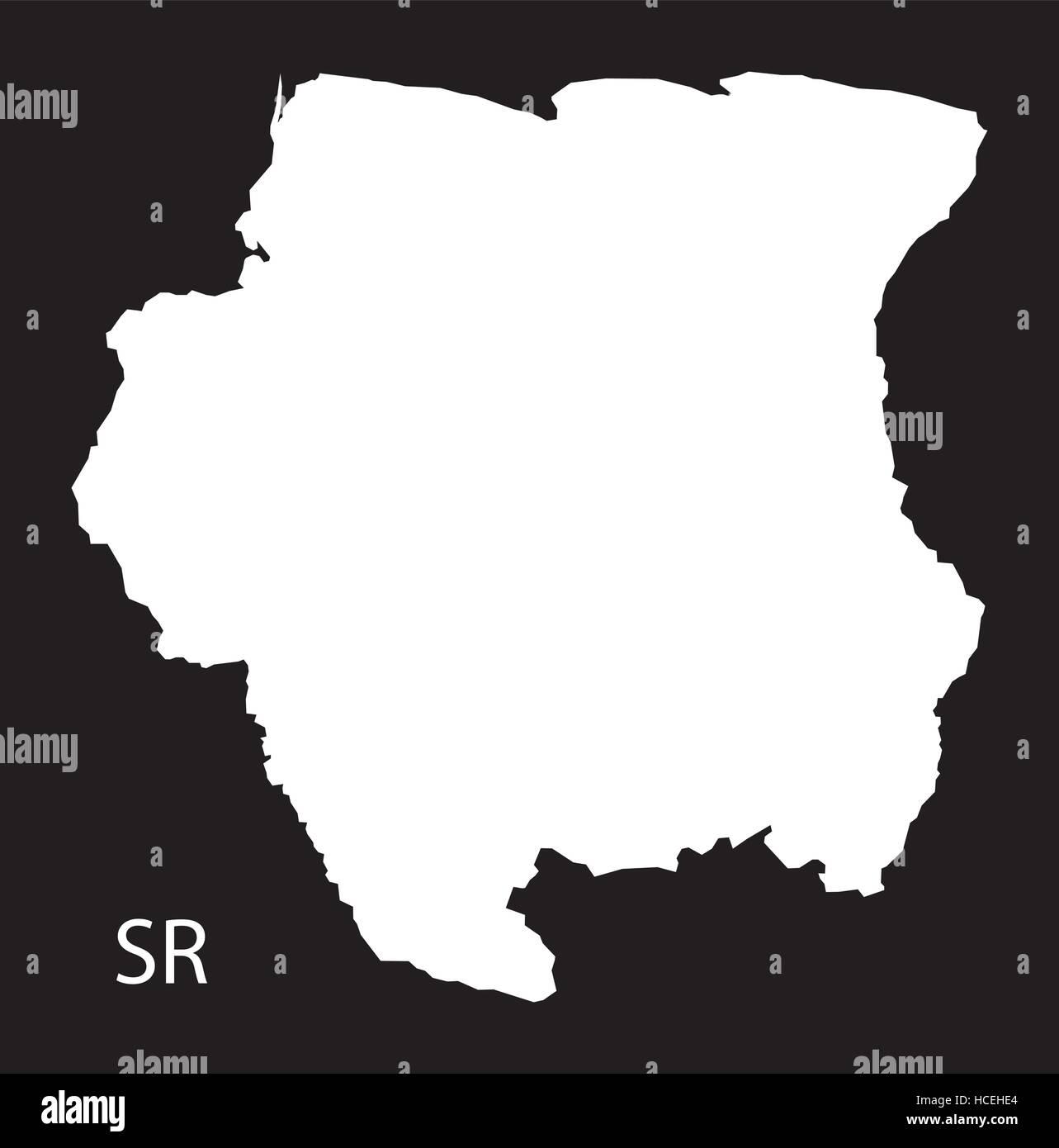 Suriname Map black illustration Stock Vector Art Illustration