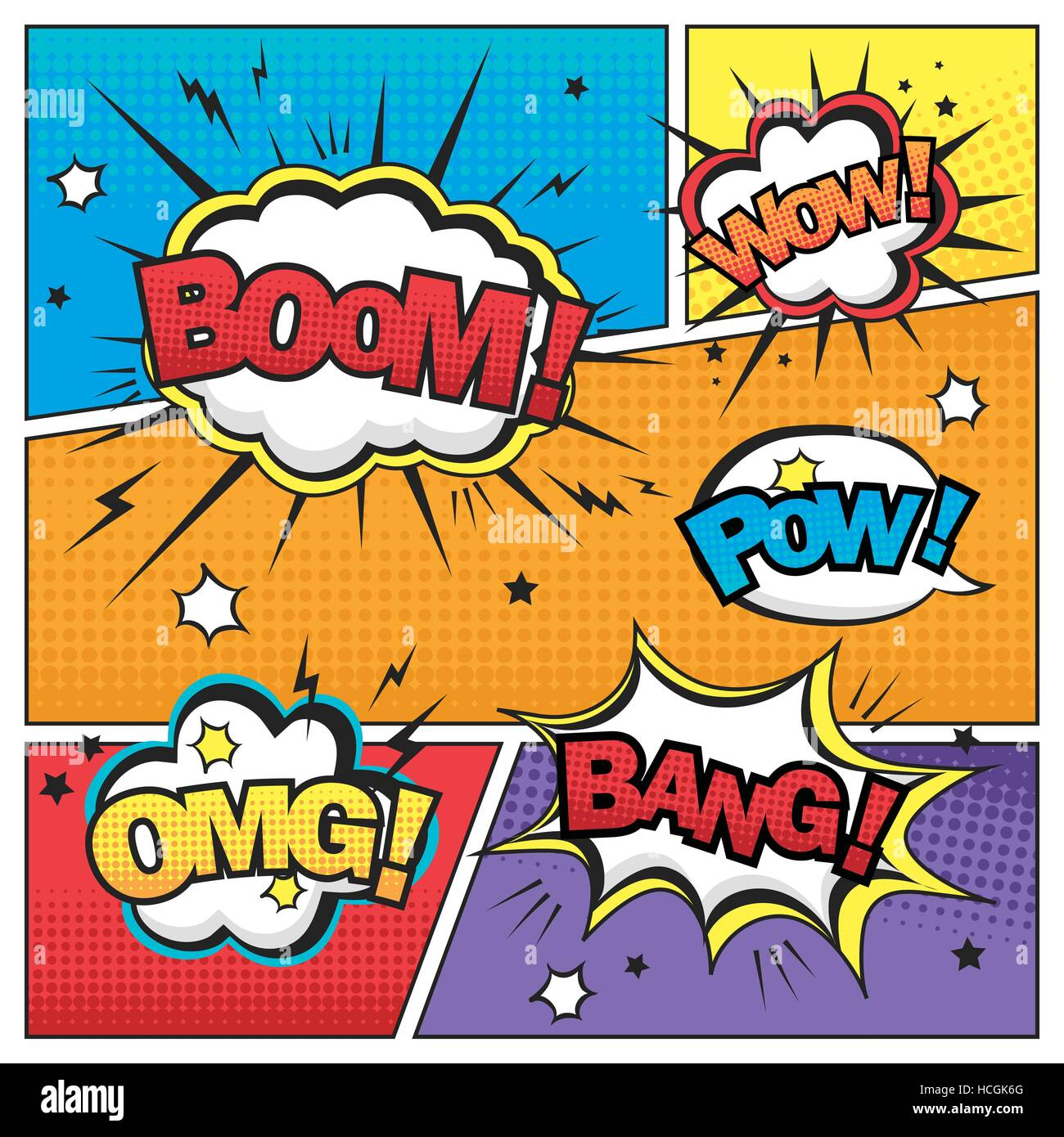 Attractive Comic Sound Effect Set Isolated On Colorful Comic Strip Template