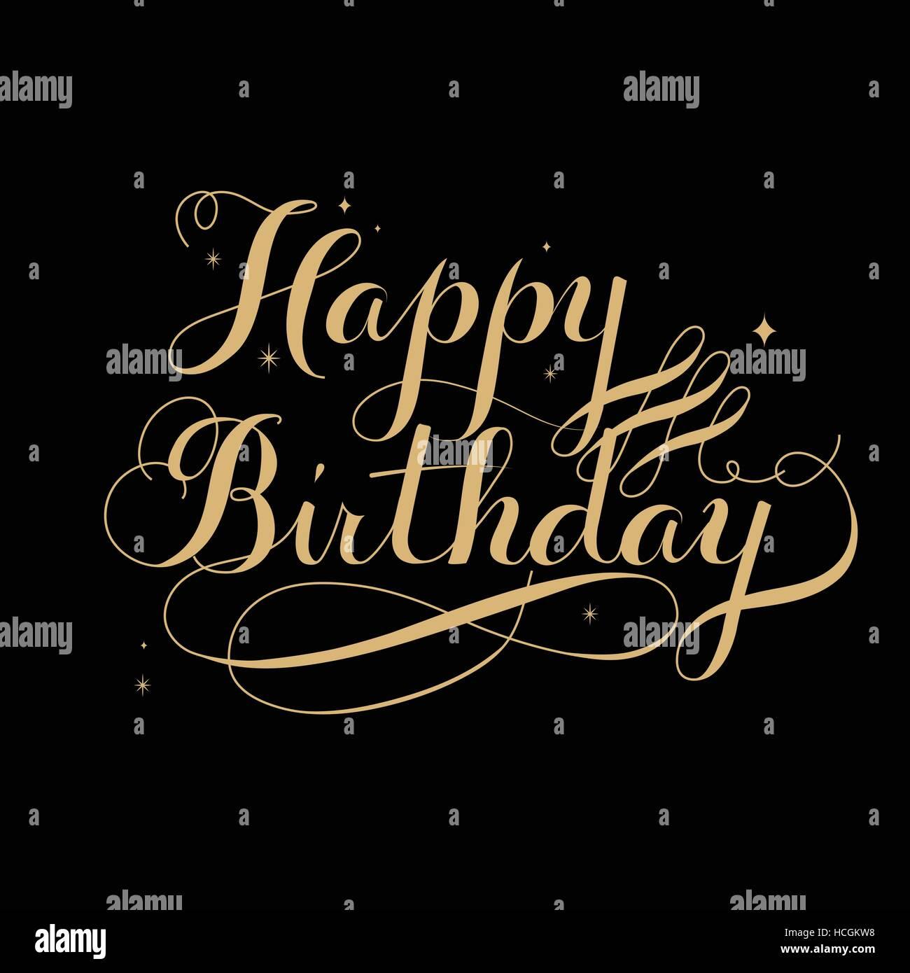 Elegant Happy Birthday Calligraphy Design Over Black