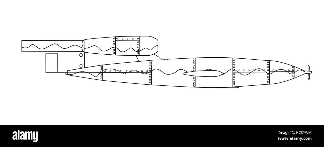 V1 German World War 2 Rocket Line Drawing On White Stock