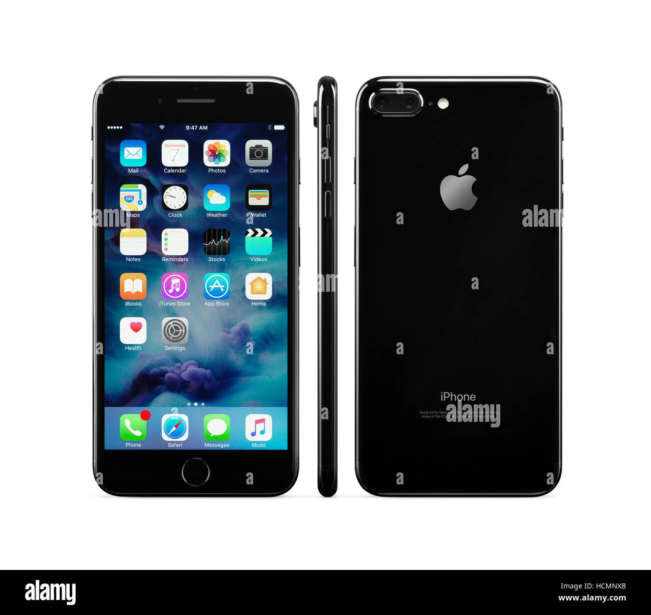 Apple IPhone 7 Plus Black Front Side And Rear Views Isolated On White Background With