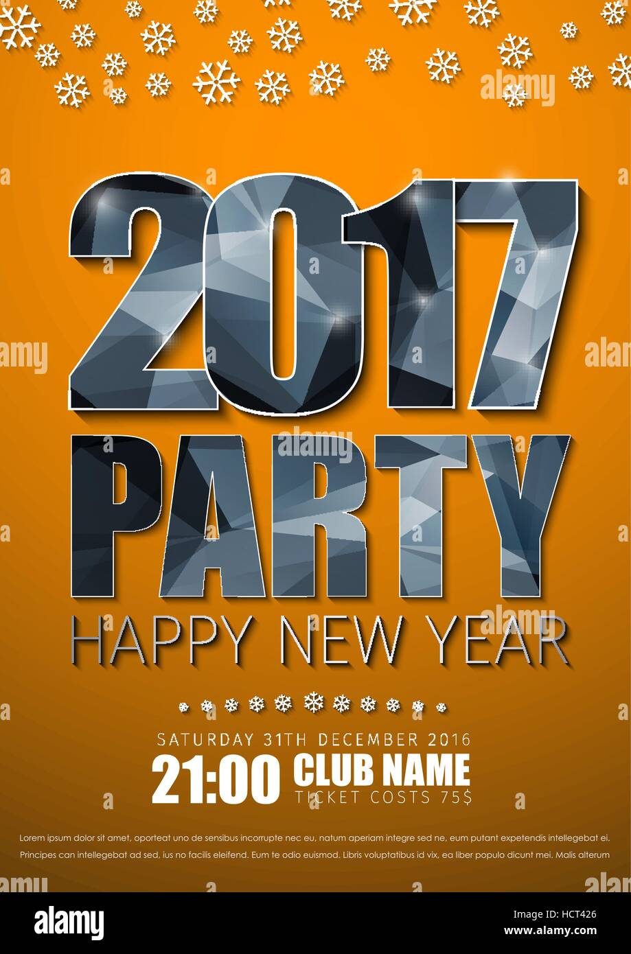 Poster design keywords - Poster Design For The New Year S Party In 2017 Orange Flyer Template With Silver