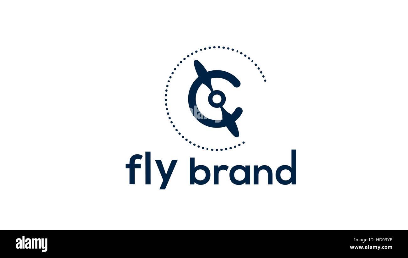 Airplane propeller vector logo design template Stock Vector Art ...