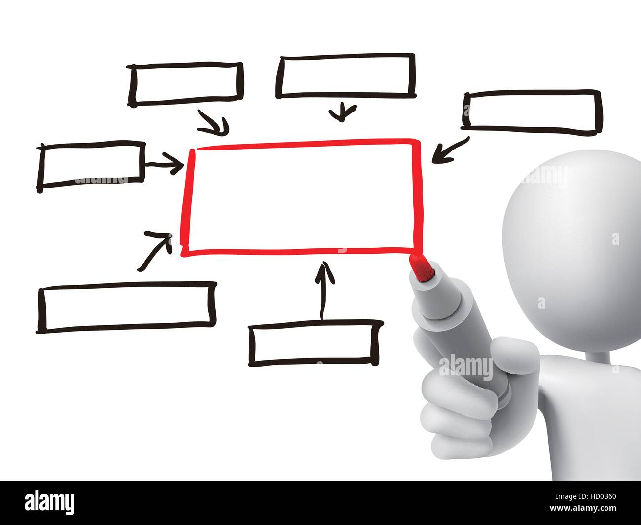 Blank flow chart drawn by 3d man over transparent board stock blank flow chart drawn by 3d man over transparent board nvjuhfo Gallery