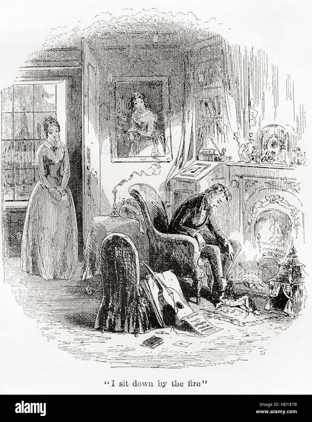 the death of dora illustration from the charles dicken s novel stock photo the death of dora illustration from the charles dicken s novel david copperfield charles john huffam dickens 1812 1870