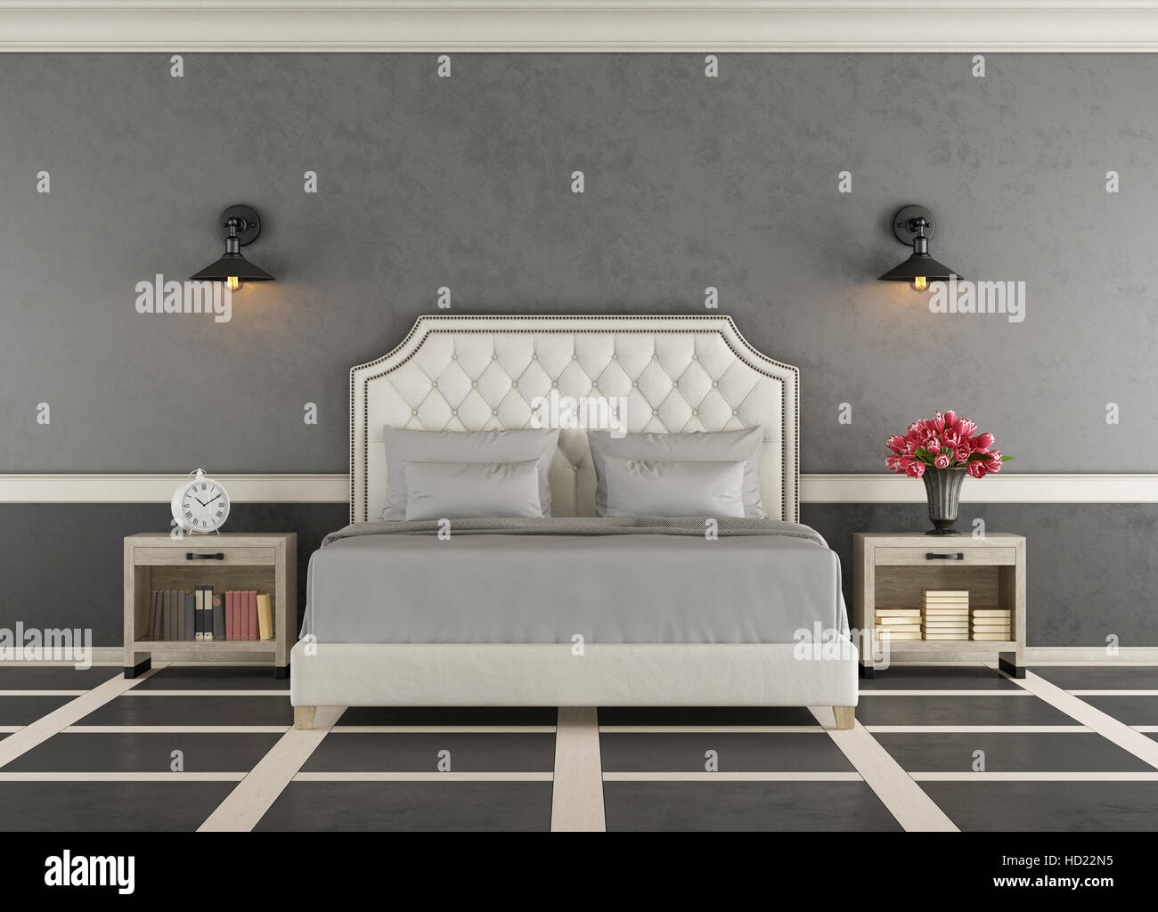 Classic Master Bedroom With Elegant Double Bed 3d Rendering