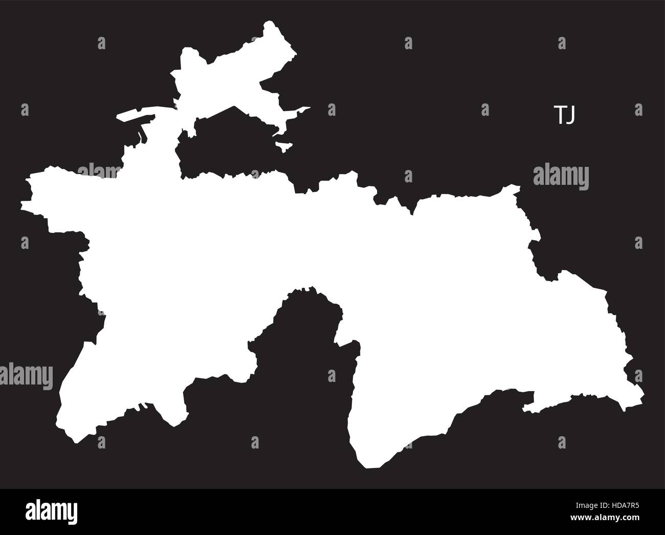 Tajikistan Map Black And White Illustration Stock Vector Art - Tajikistan map vector
