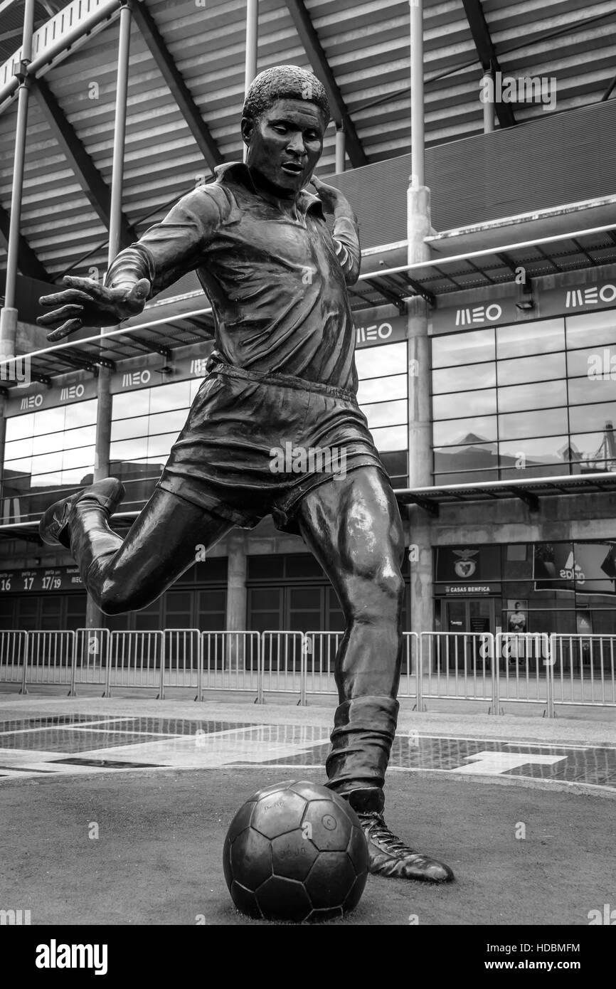 Statue of Eusebio at Estadio da Luz home of Benfica the biggest