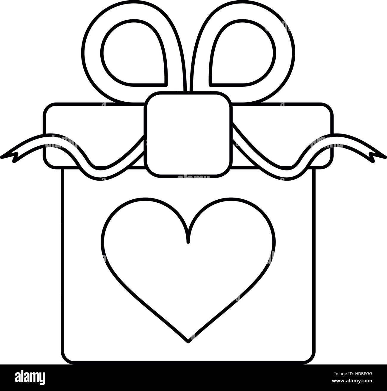 gift box with heart and bow outline stock vector art