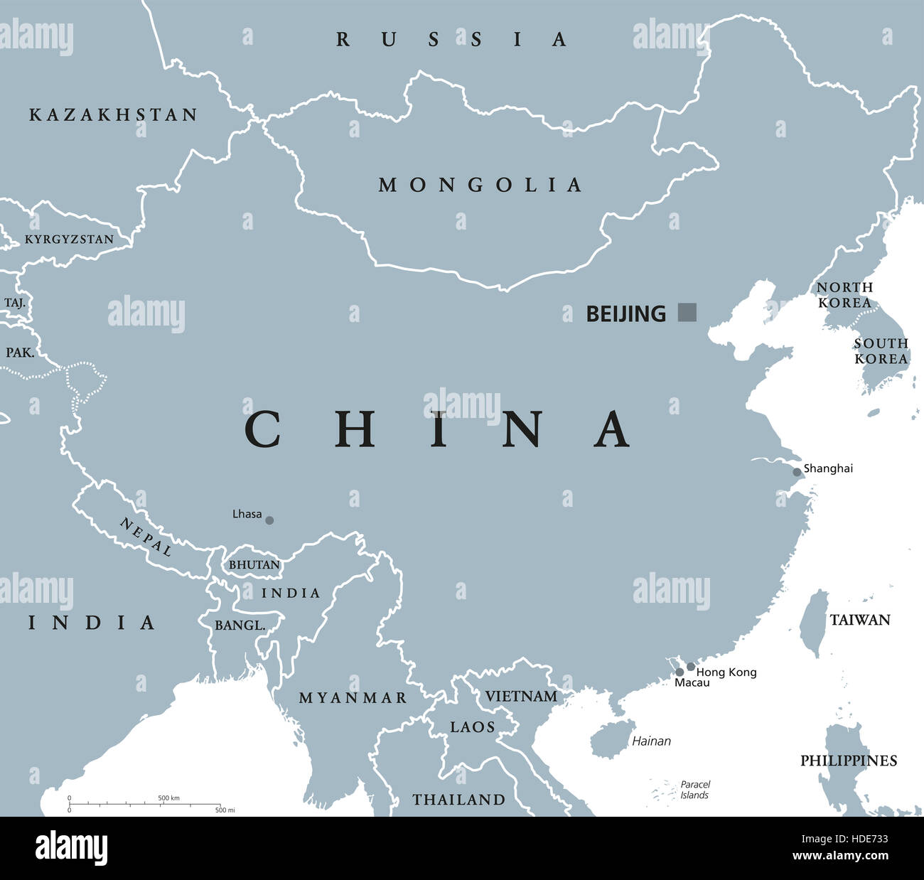 China Political Map With Capital Beijing And National Borders - Peoples republic map