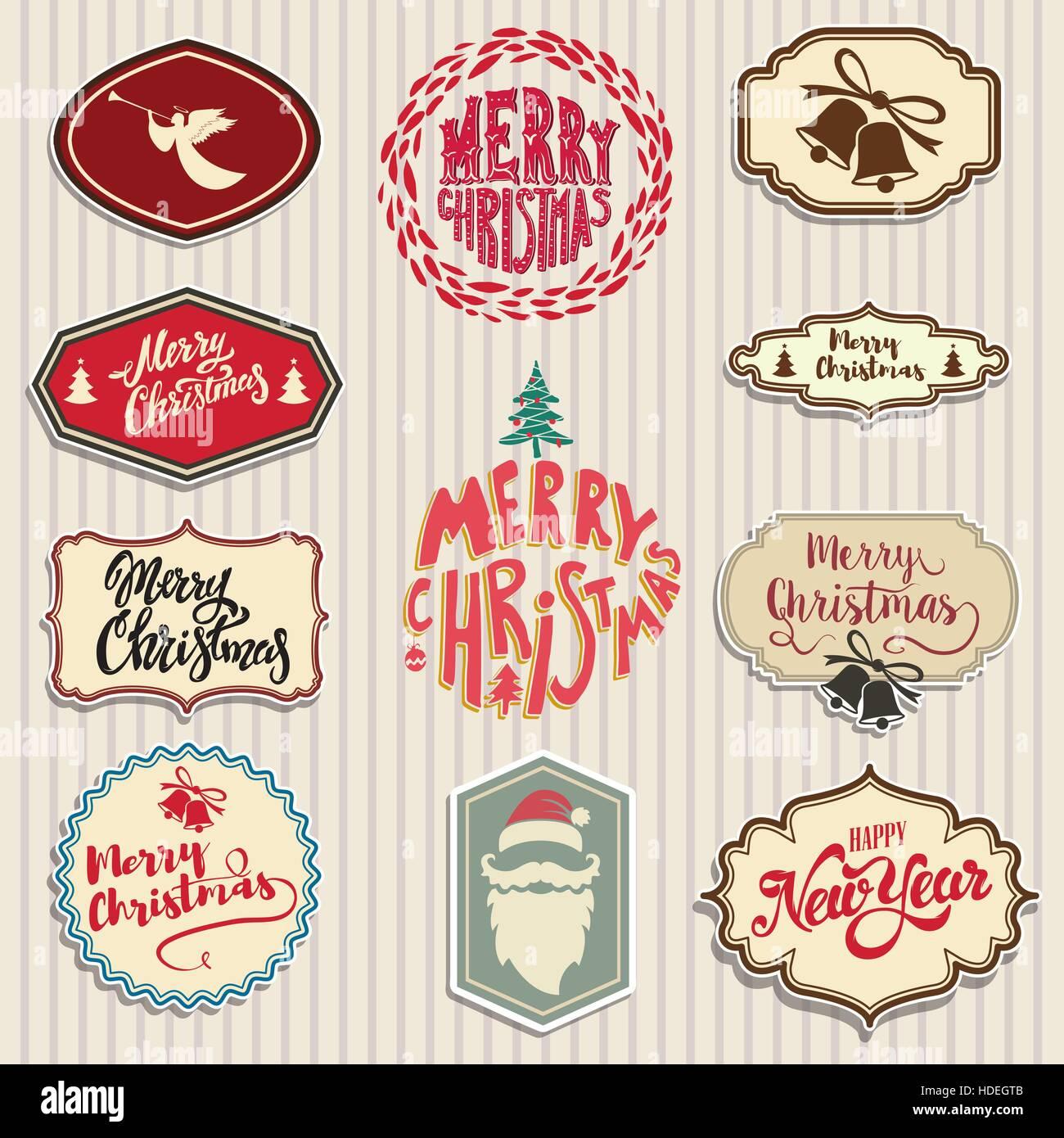 Christmas emblems set santa claus beard angel bells design stock christmas emblems set santa claus beard angel bells design elements for poster greeting cards vector illustration kristyandbryce Choice Image