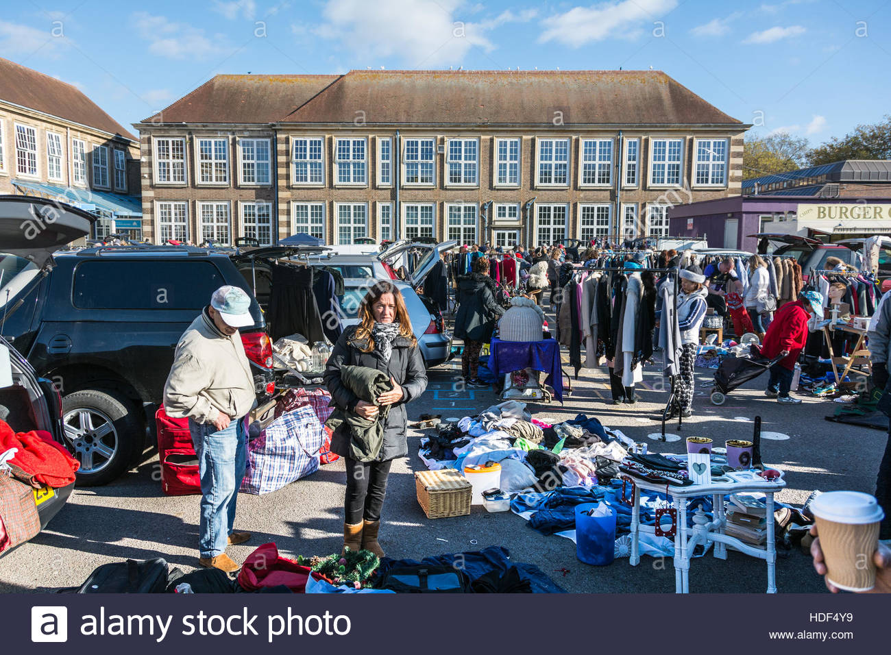 The monthly car boot sale at chiswick community school in london england uk