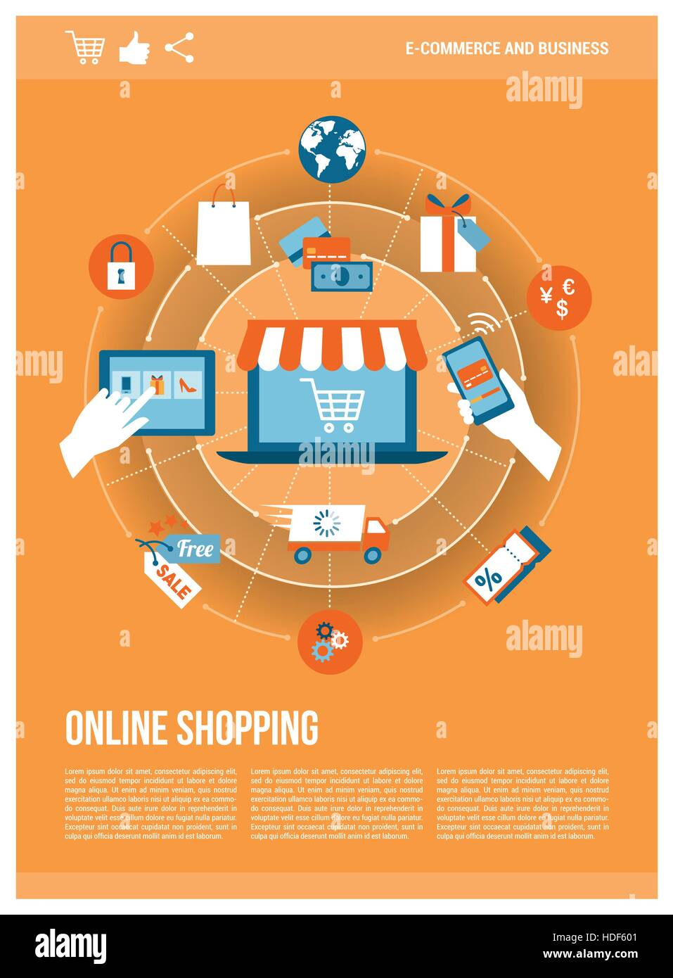online shopping, e-payment and retail concepts on a network with a, Powerpoint templates