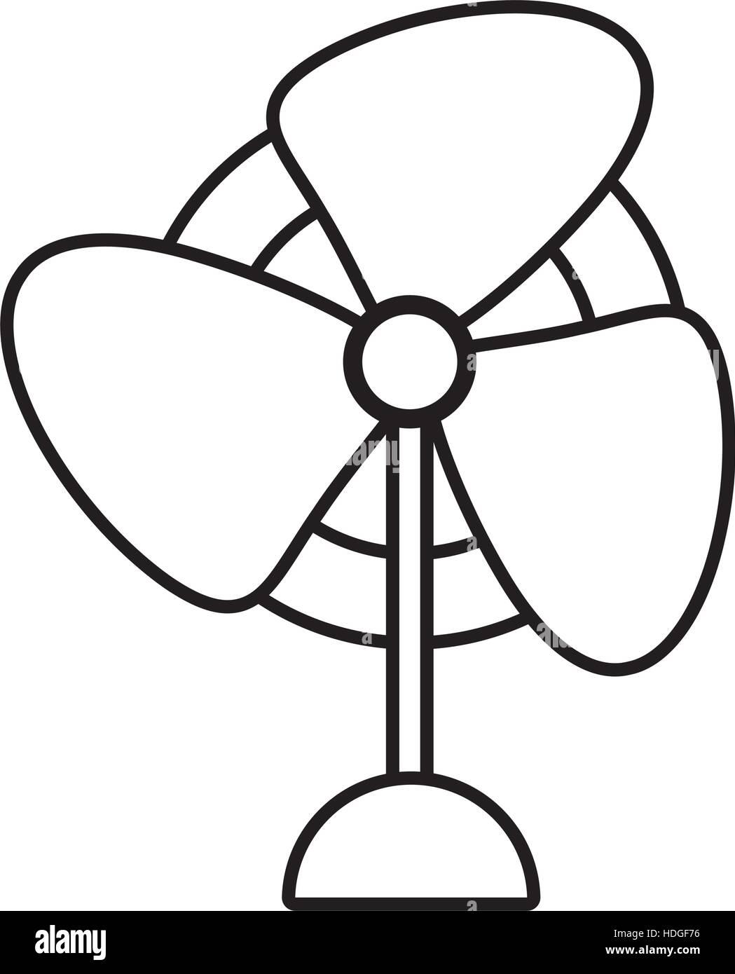 Fan Blade Outline : Pedestal fan electronic domestic appliance outline vector