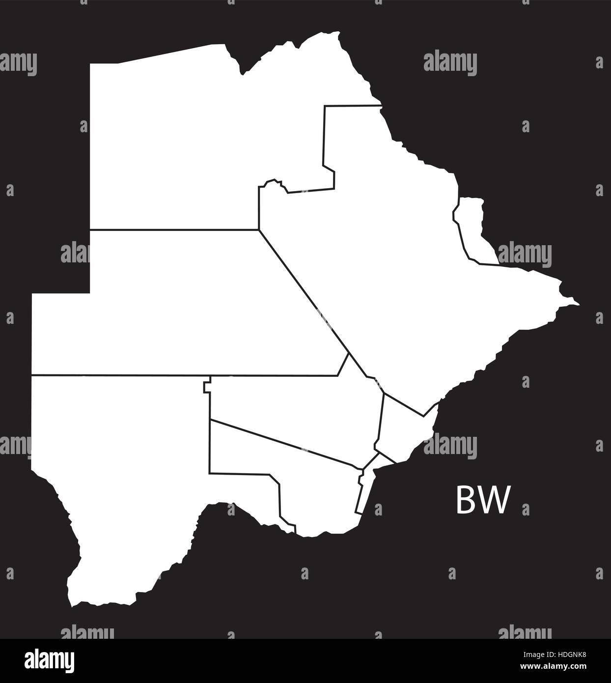 Botswana Districts Map Black And White Illustration Stock Vector - Botswana map hd