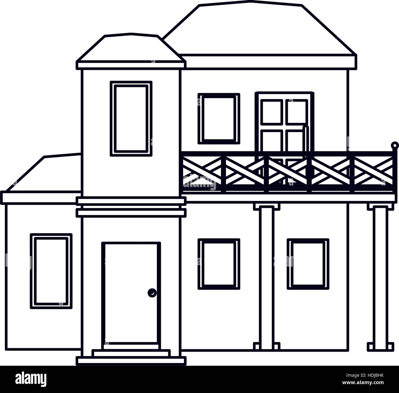 House outline picture - Stock Vector House With Balcony Roof Garden Outline