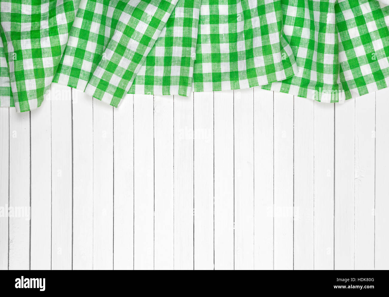 Awesome Green Checkered Tablecloth On Wooden Table, Top View