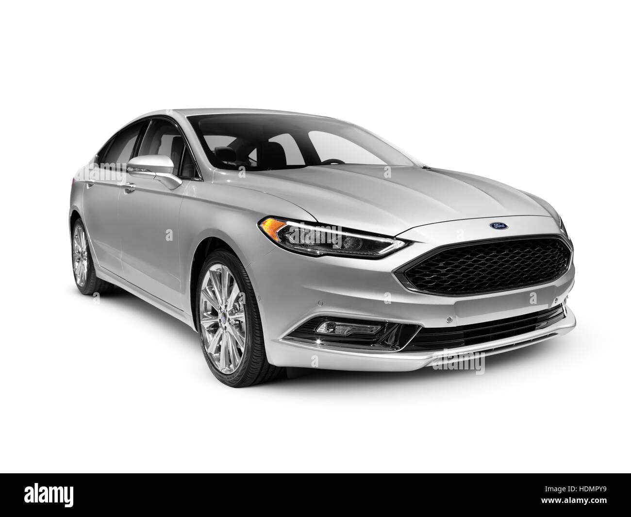 Ford fusion mid size silver sedan car 2017 stock image