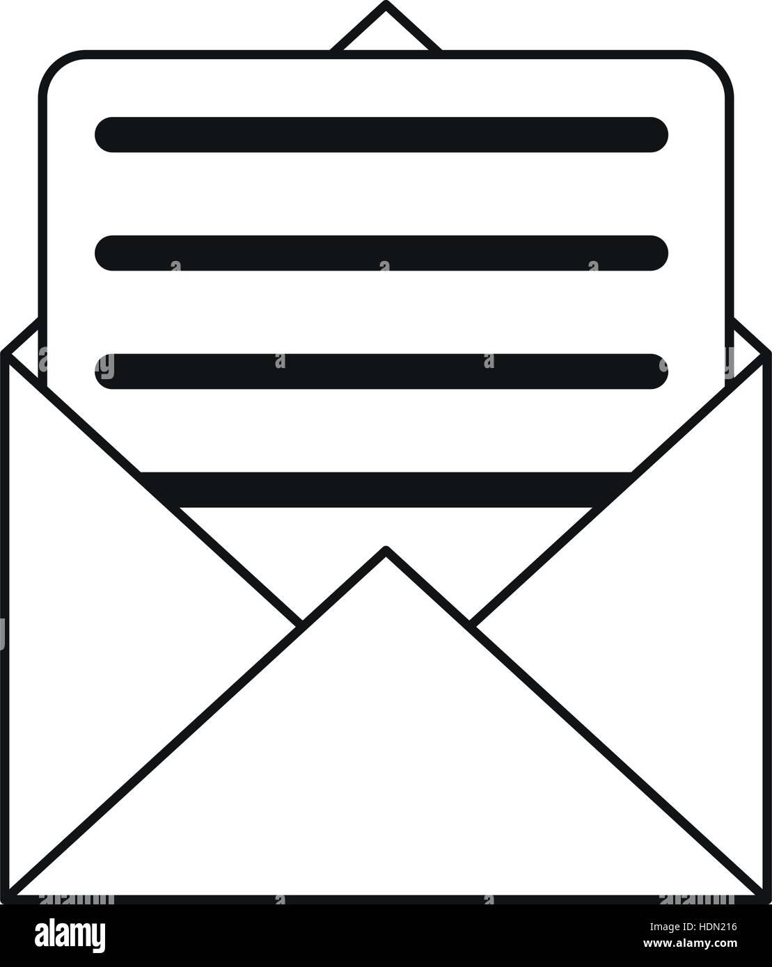 envelope paper letter email outline Stock Vector Art ...