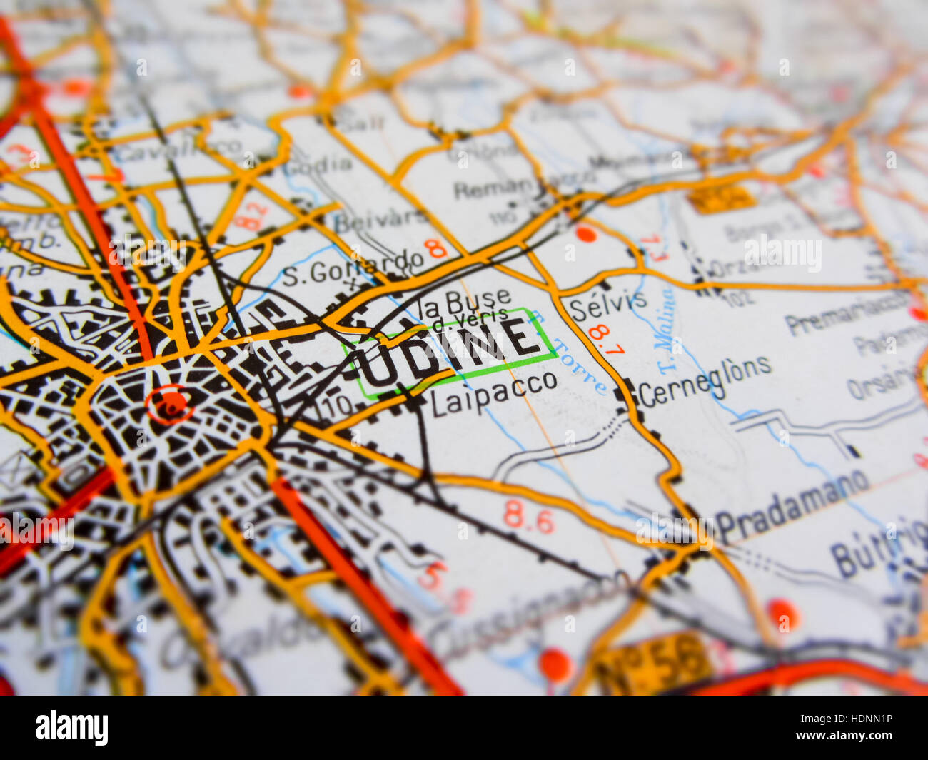 Udine City Over A Road Map ITALY Stock Photo Royalty Free Image - Udine map