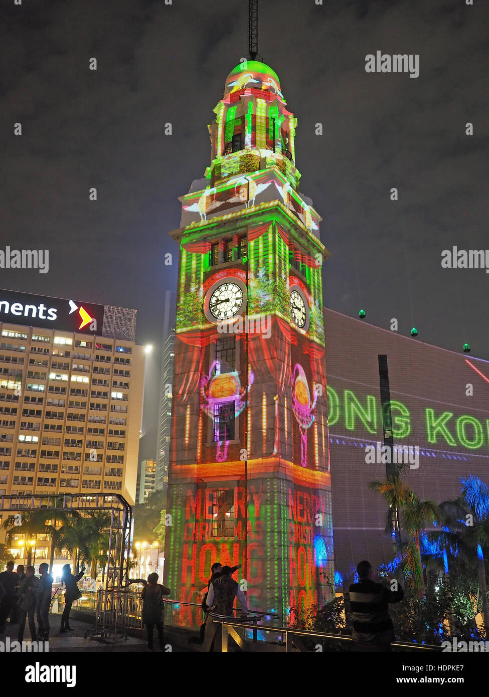 3D Light Show view of the kowloon clock tower during the hong kong pulse 3d