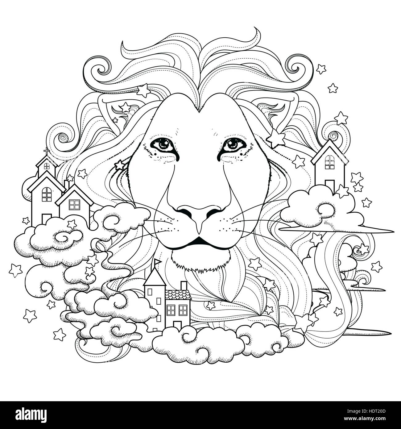 lovely lion coloring page in exquisite style stock vector art