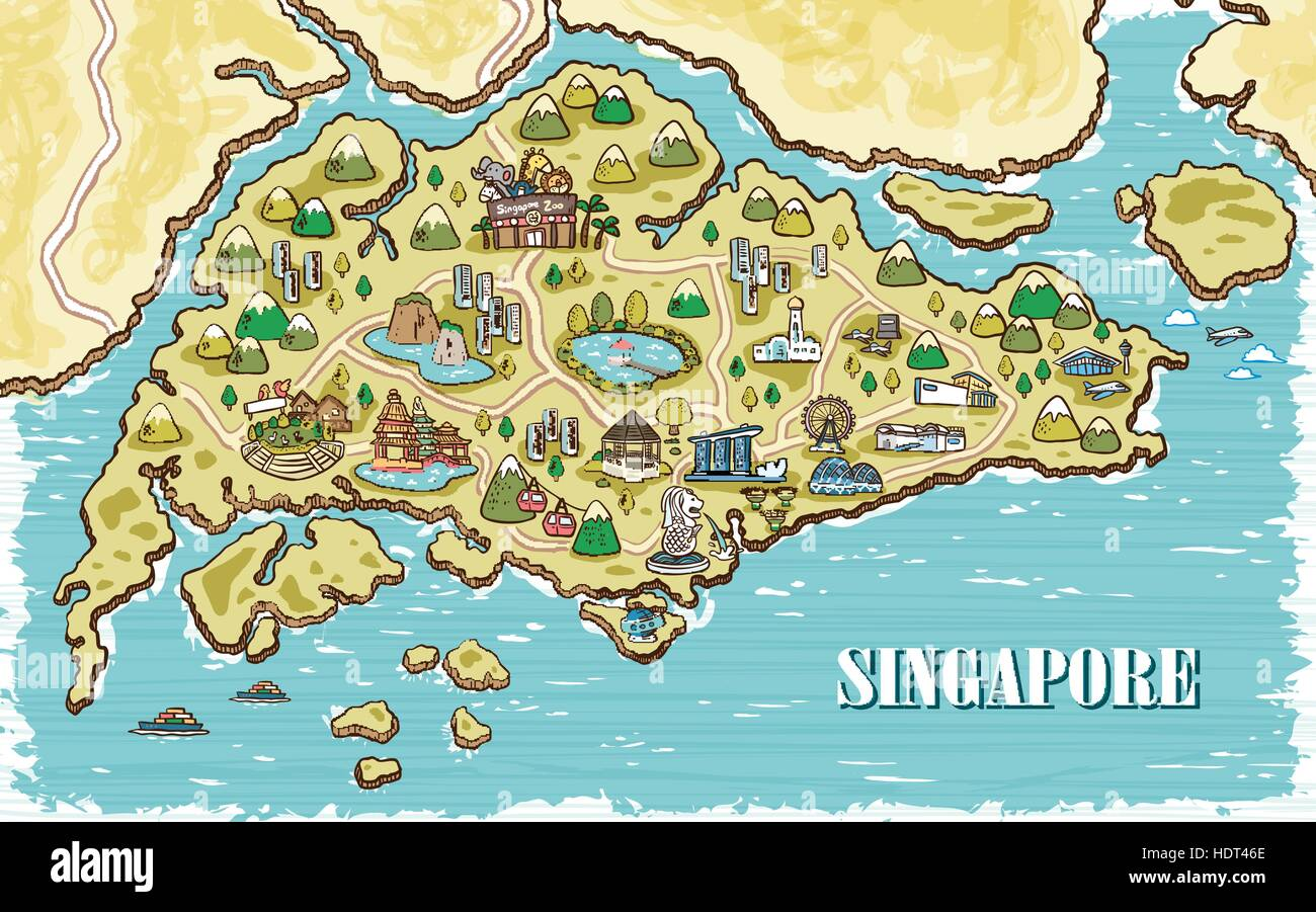 Adorable Singapore Travel Map In Hand Drawn Style Stock Vector Art - Singapore map vector